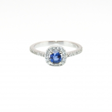 0.53 Carat Ceylon Sapphire And Diamond Ring 14k White Gold