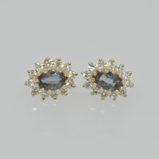 0.53 Carat Natural Alexandrite And Diamond Halo Earrings In 14k Yellow Gold