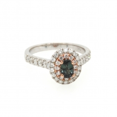 0.53 Carat Natural Excellent Color Change Alexandrite And Diamond Ring In 14k White Gold