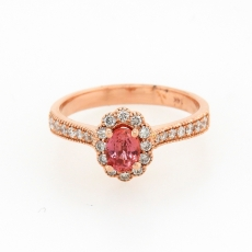 0.54 Carat Padparadscha Sapphire And Diamond Ring In 14k Rose Gold