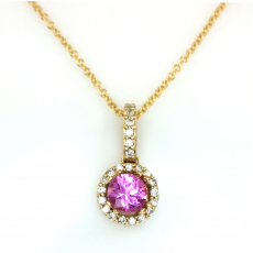 0.55 Carat Pink Sapphire And Diamond Halo Pendant In 14k Yellow Gold With 16in Chain