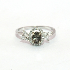 0.56 Carat Natural Color Change Alexandrite And Diamond Ring In 14k White Gold
