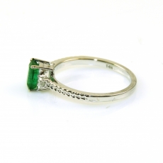 0.58 Carat Emerald And Diamond Ring In 14k White Gold