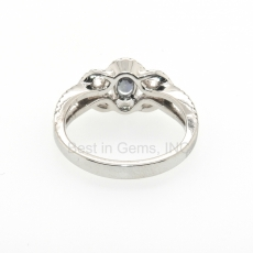 0.59 Carat Alexandrite And Diamond Ring In 14k White Gold