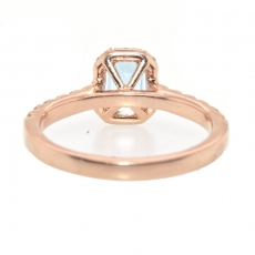 0.59 Carat Aquamarine And Diamond Halo Ring In 14k Rose Gold