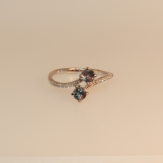 0.60 Carat Alexandrite And Diamond Ring In 14k White Gold