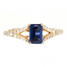 0.60 Carat Blue Sapphire And Diamond Ring In 14k Yellow Gold