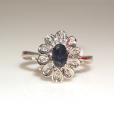 0.60 Carat Color Change Natural Alexandrite And Diamond Ring In 14K White Gold