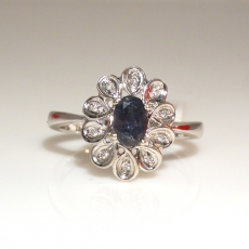 0.60 Carat Natural Color Change Alexandrite And Diamond Ring In 14k White Gold
