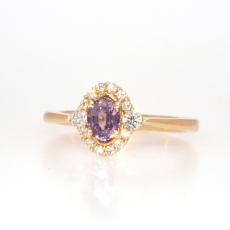 0.60 Carat Purple Sapphire And Diamond Ring In 14k Yellow Gold