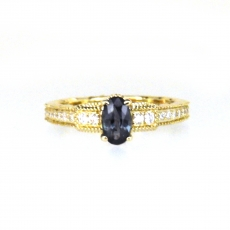 0.61 Carat Natural Color Change Alexandrite And Diamond Ring In 14k Yellow Gold