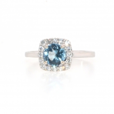 0.62 Carat Aquamarine And Diamond Halo Ring In 14k White Gold