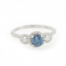 0.62 Carat Fancy Deep Blue Diamond With White Accent Diamond Enagagement Ring In 14k White Gold