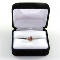0.62 Carat Fancy Deep Purplish Red Diamond With White Accent Diamond Enagagement Ring In 14k White Gold
