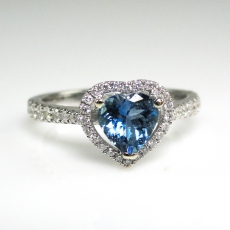 0.62 Carat Natural Aquamarine With Diamond Ring in 14K White Gold