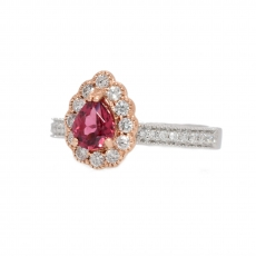 0.63 Carat Red Spinel and Diamond Ring In 14k White Gold