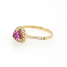 0.64 Carat Pink Sapphire And Diamond Ring In 14k Yellow Gold