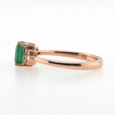 0.65 Carat Emerald And Diamond Ring In 14k Rose Gold