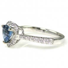 0.65 Carat Natural Aquamarine With Diamond Ring in 14K White Gold