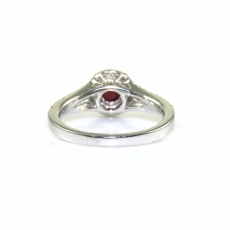 0.68 Carat Heated Ruby And Diamond Ring In 14k White Gold