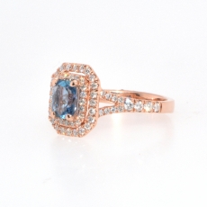 0.69 Carat Aquamarine And Diamond Ring In 14k Rose Gold