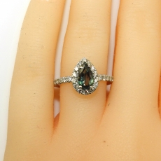 0.69 Carat Natural Color Change Alexandrite And Diamond Ring In 14k White Gold