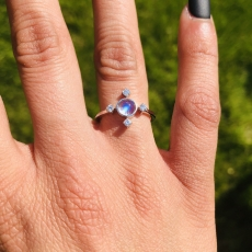 0.70 Carat Rainbow Moonstone And Diamond Ring In 14k White Gold