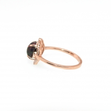 0.73 Carat Ethiopian Black Opal And Diamond Ring In 14k Rose Gold