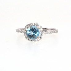 0.74 Carat Aquamarine And Diamond Halo Ring In 14k White Gold