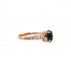 0.75 Carat Ethiopian Black Opal And Diamond Ring In 14k Rose Gold