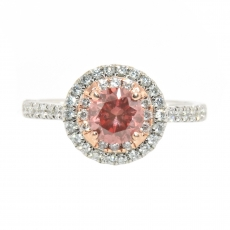 0.75 Carat Pink Diamond And White Diamond Double Edge Halo Ring In 14k Dual Tone (White / Rose) Gold