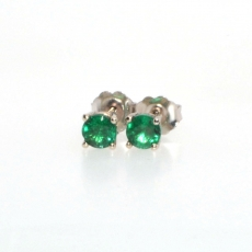 0.75 Carat Zambian emerald stud earring in 14k White gold