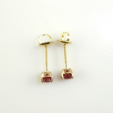 0.77 Carat Madagascar Ruby Stud  Earring In 14k Yellow Gold
