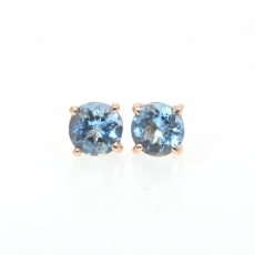 0.77 Carat Natural Aquamarine stud earring in 14k Rose gold