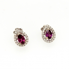 0.78 Carat Rasberry Garnet Diamond Earring In 14k White Gold
