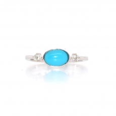 0.80 Carat Turquoise And Bazel Set Diamond Ring In 14k White Gold