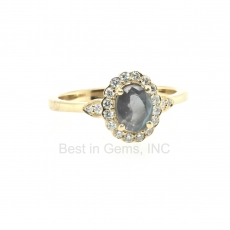 0.81 Carat Alexandrite And Diamond Ring In 14k Yellow Gold