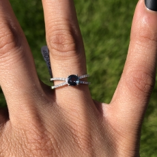 0.81 Carat Excellent Color Change Natural Alexandrite And Diamond Ring In 14K White Gold