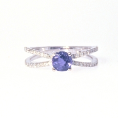 0.81 Carat Natural Excellent Color Change Alexandrite And Diamond Ring In 14k White Gold