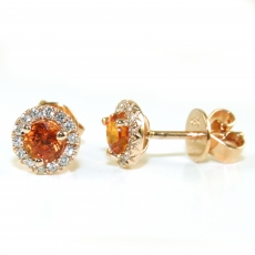 0.81 Carat Orange Sapphire And Diamond Earring Stud In 14k Rose Gold