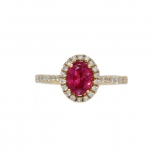0.82 Carat Red Spinel And Diamond Ring In 14K Yellow Gold