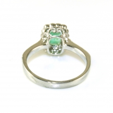0.84 Carat Colombian Emerald And Diamond Ring In 14k White  Gold
