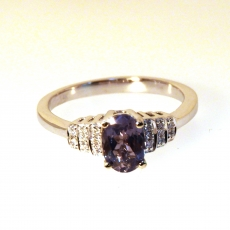 0.84 Carat Natural Excellent Color Change Alexandrite And Diamond Ring In 14k White Gold