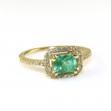0.88 Carat Colombian Emerald And Diamond Ring In 14k Yellow Gold