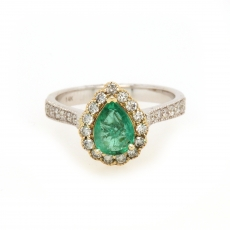0.89 Carat Colombian Emerald And Diamond Ring In 14k Dual Tone (yellow/white) Gold