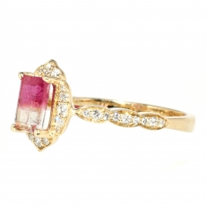 0.89 Carat Watermelon Tourmaline And Diamond Ring In 14k Yellow Gold