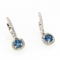 0.90 Carat Aquamarine And Diamond Earring In 14k White Gold