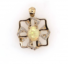 0.90 Carat Ethiopian And Diamond Pendant In 14k Yellow Gold