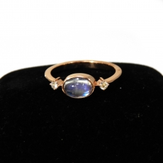0.90 Carat Rainbow moonstonel And Diamond Ring In 14k Rose Gold