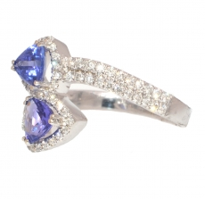 0.90 Carat Tanzanite And Diamond TWO STONE Ring in 14k white gold